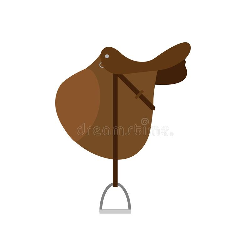 Vector brown cartoon flat classical english show cross jumping horse saddle on white royalty free stock images