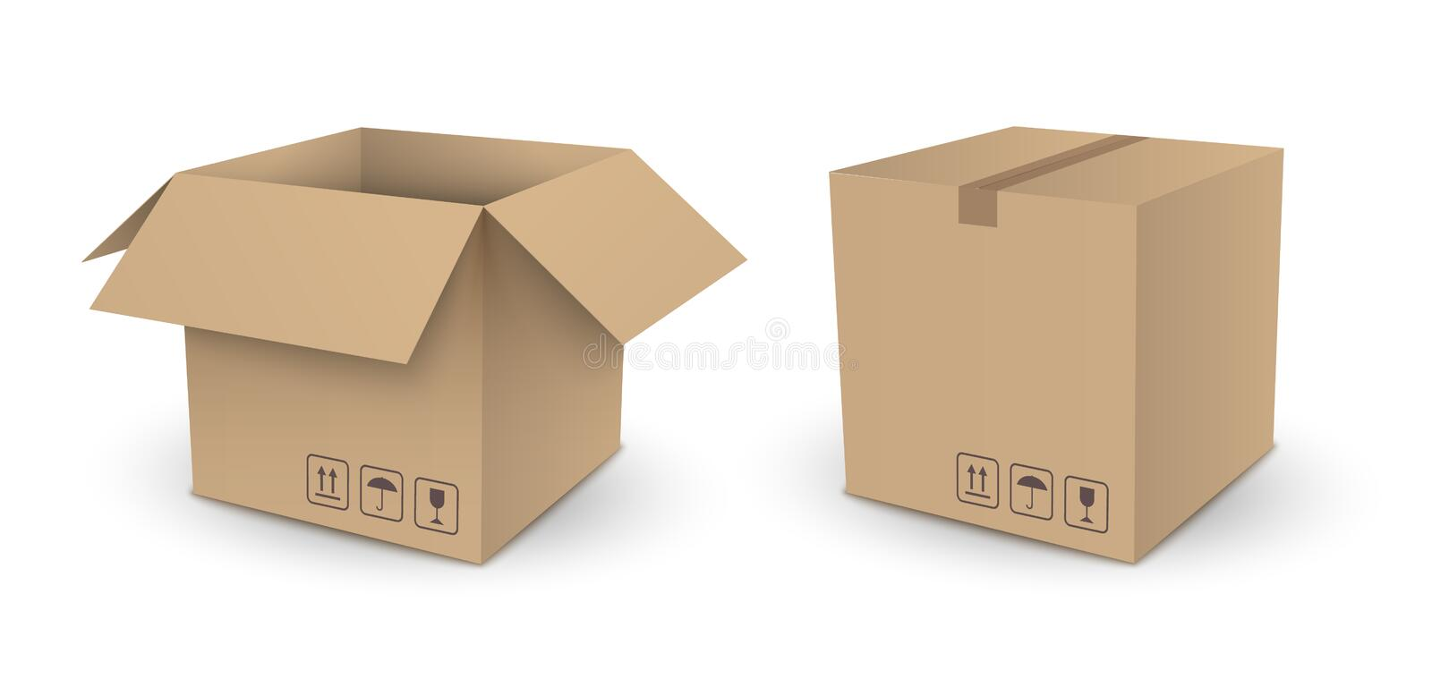 Vector brown cube empty package box open and closed isolated on royalty free illustration