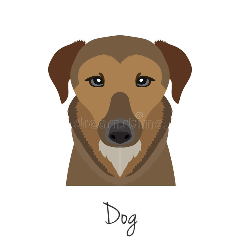 Vector brown dog head isolated. Flat style, cartoon object. Poster banner print advertising, design element. Animal of Chinese zodiac symbol vector illustration