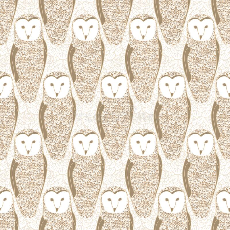 Vector Brown Floral Owls on Beige Background Seamless Repeat Pattern. Background for textiles, cards, manufacturing stock illustration