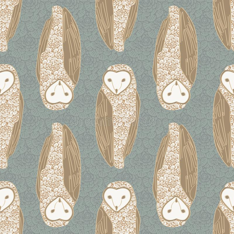 Vector Brown Floral Owls on Green Background Seamless Repeat Pattern 纺织、纸牌、制造业背景 向量例证