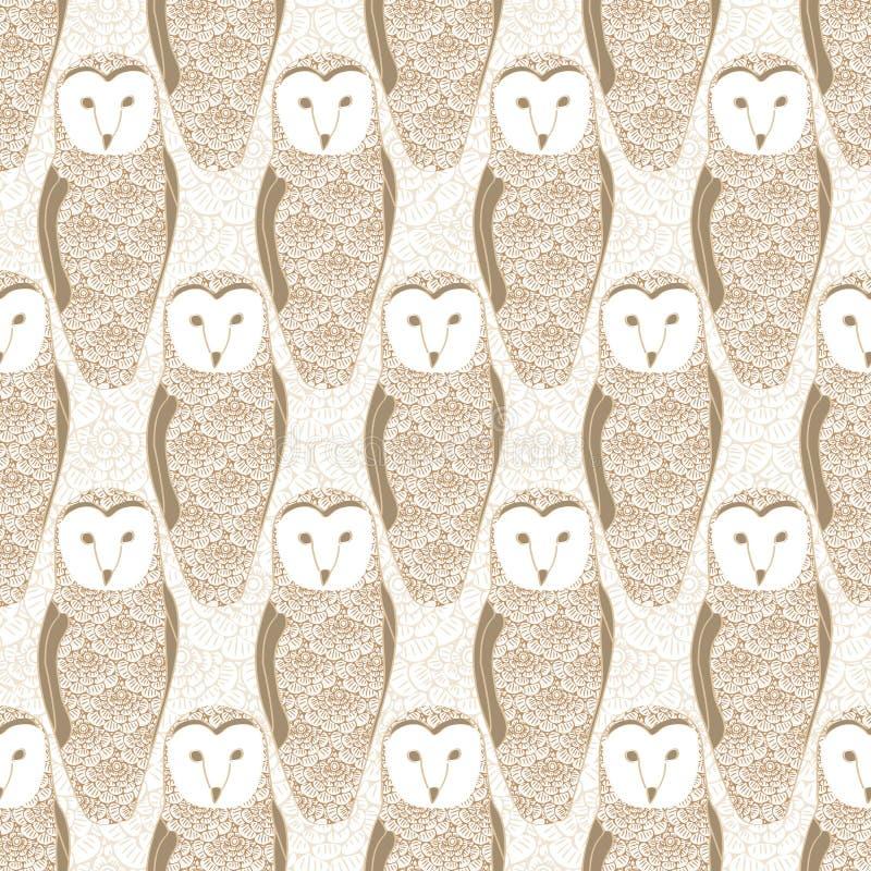 Vector Brown Floral Owls på Beige Background Seamless Repeat Pattern Bakgrund för textilier, kort, tillverkning stock illustrationer