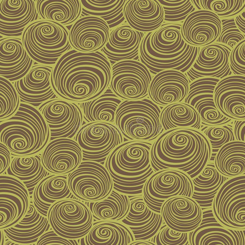 Vector brown and green swirls spirals repeat pattern. Perfect for fabric, scrapbooking, wallpaper projects. royalty free illustration