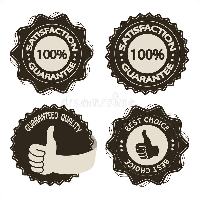 Vector brown satisfaction guarantee labels. Brown satisfaction guarantee labels - illustration royalty free illustration
