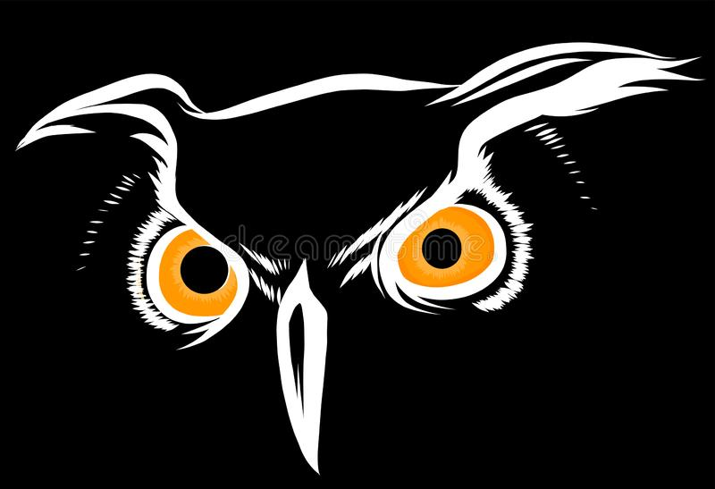 Vector brown silhouette of an owl on a black background. stock illustration