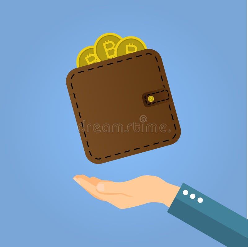 Vector bruine bitcoinportefeuille met muntstukken op hand vector illustratie