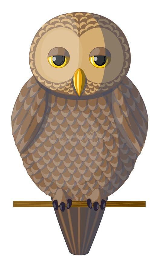 Vector bruine slaperige uil royalty-vrije illustratie