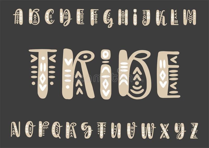 Vector brush pen handwritten capital alphabet decorated with boho ornaments on a black background stock illustration