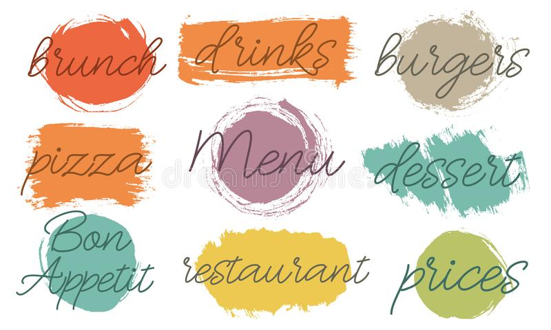 Vector brush stroke Boxes set. Painted strips, round, square. Grunge texture. Test in the frame for the cafe, restaurant menu. Pas stock illustration