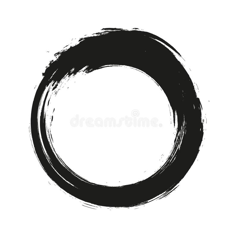 Vector brush strokes circles of paint on white background. Ink hand drawn paint brush circle. Logo, label design element royalty free illustration