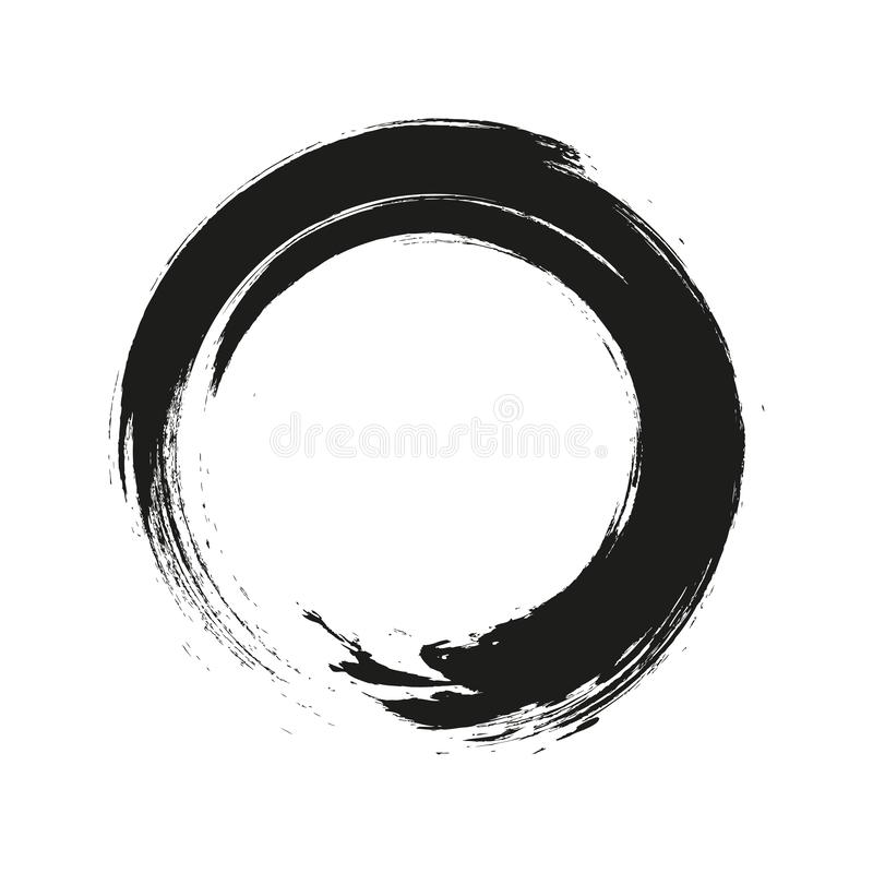 Vector brush strokes circles of paint on white background. Ink hand drawn paint brush circle. Logo, label design element  stock illustration