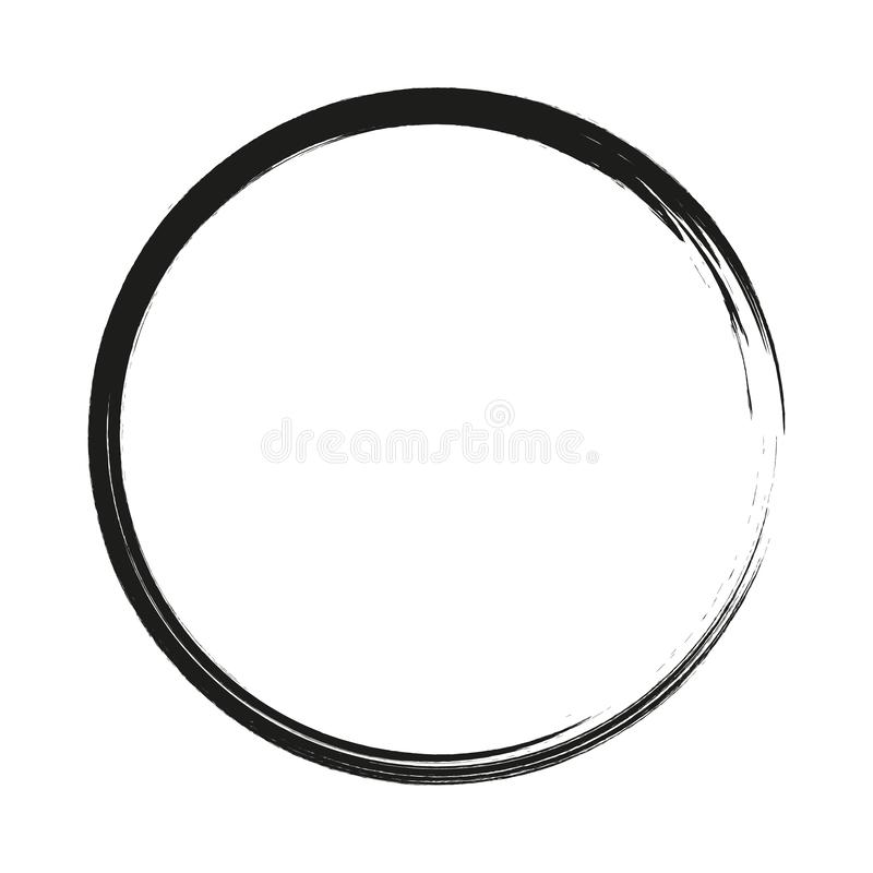 Vector brush strokes circles of paint on white background. Ink hand drawn paint brush circle. Logo, label design element. Illustration. Black abstract circle vector illustration