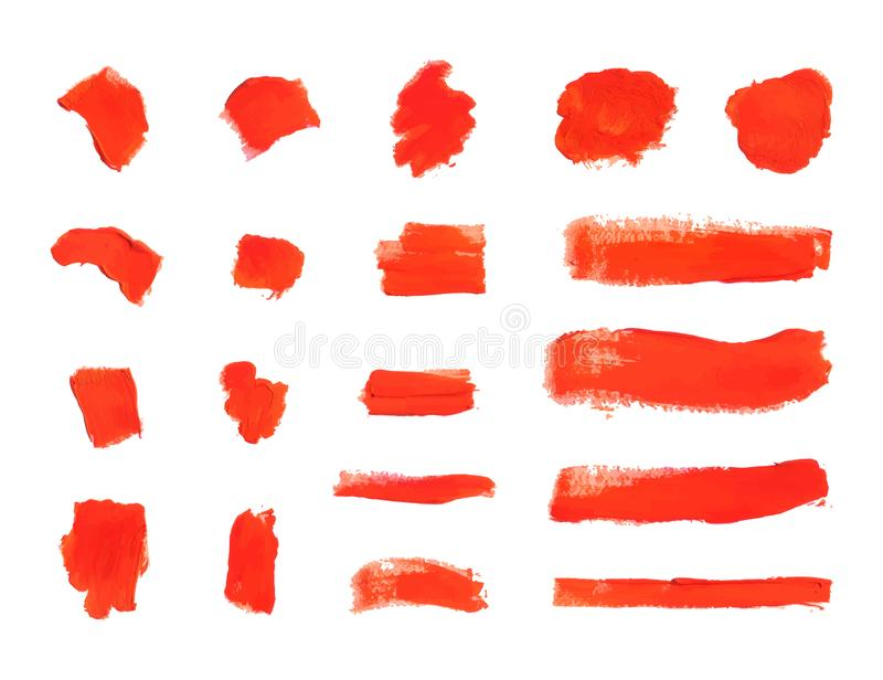 Vector Brush Strokes, Textured Red Paint Smears, Design Elements Set. stock illustration