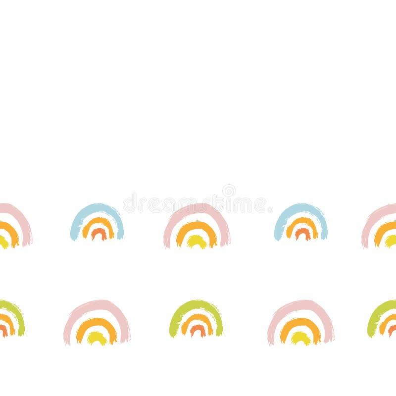 Vector brushstroke geometric line rainbow border. Seamless vector brushstroke geometric line rainbow border on white background. Hand painted brush texture in stock illustration
