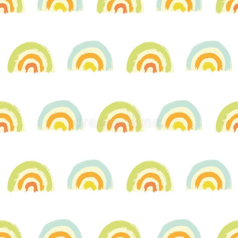 Vector brushstroke geometric rainbow kids pattern. Seamless vector brushstroke geometric rainbow kids pattern on white background. Hand painted brush texture in stock illustration