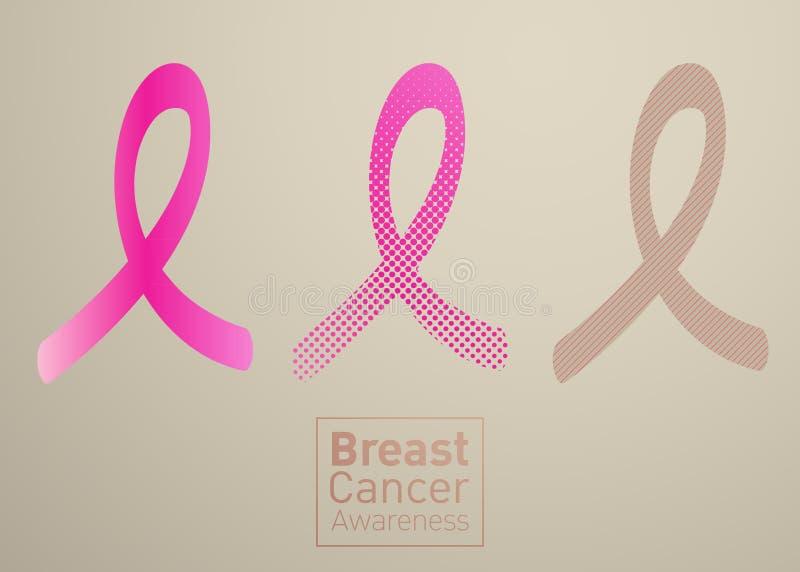 Vector Brustkrebs-Bewusstseinsrosaband auf weißem Hintergrund stock abbildung