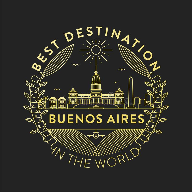Vector Buenos Aires City Badge, Linear Style royalty free illustration