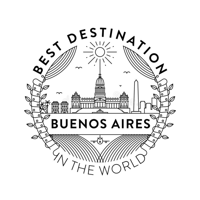 Vector Buenos Aires City Badge, Linear Style stock illustration