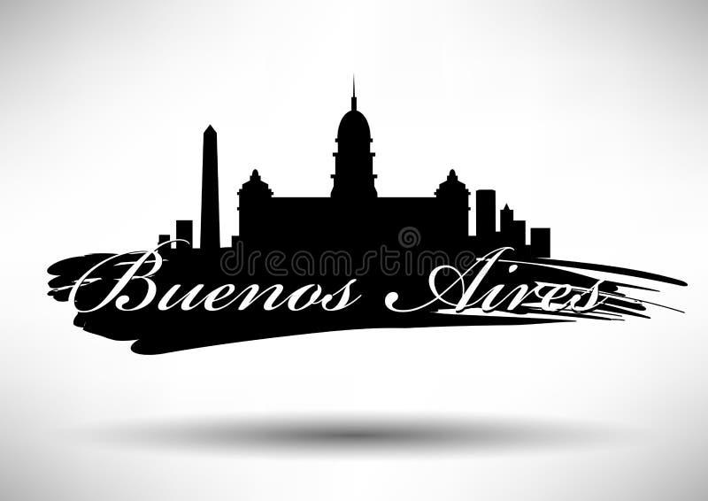 Vector Buenos Aires City Skyline Design stock illustration