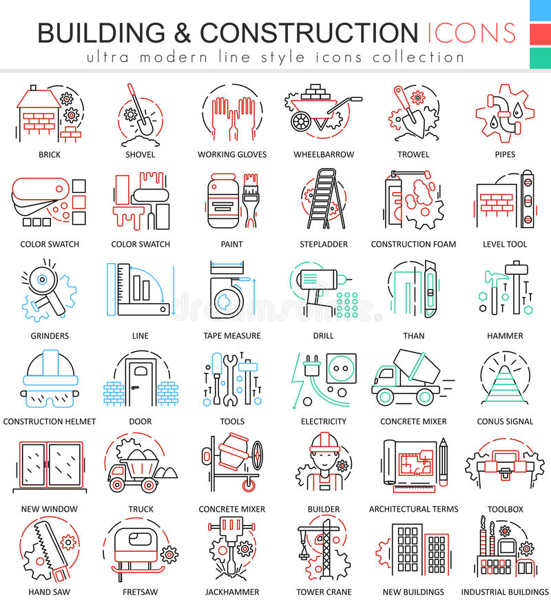 Vector building constructions color line outline icons for apps and web design. Clothes shoes icons. stock illustration