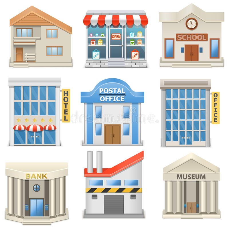 Vector Building Icons. On white background vector illustration