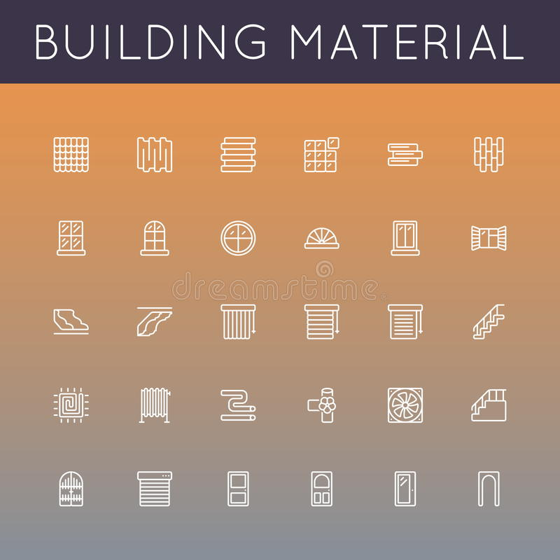 Vector Building Material Line Icons. On gradients background vector illustration