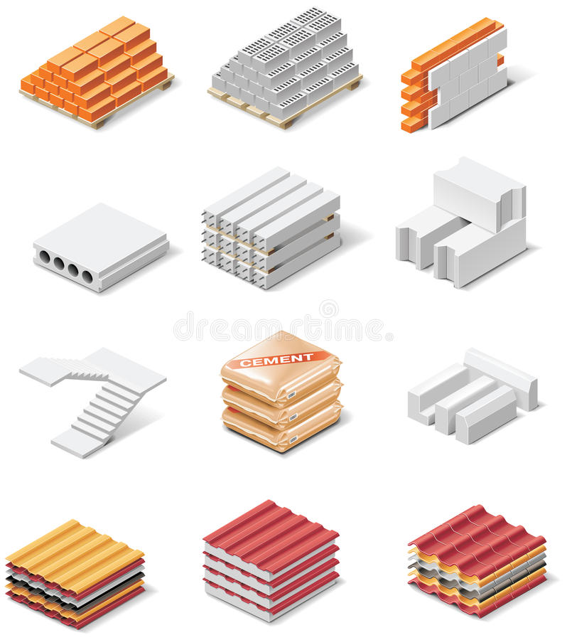 Free Vector Building Products Icons. Part 1. Concrete Royalty Free Stock Photography - 13566817