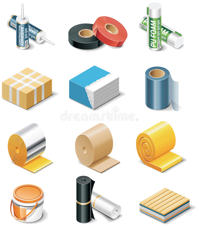 Vector building products icons. Part 2. Insulation royalty free illustration