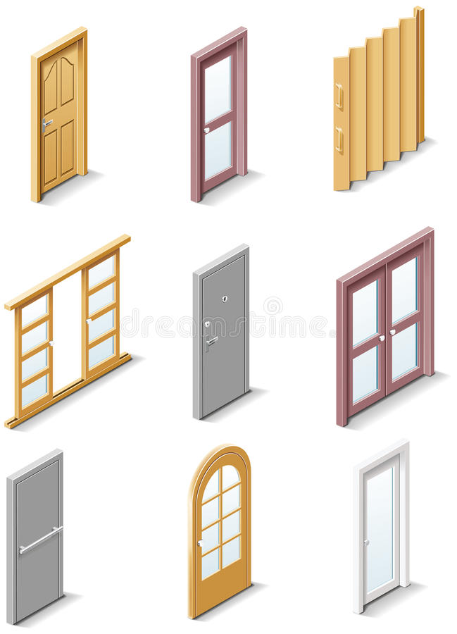 Download Vector Building Products Icons. Part 3. Doors Stock Vector - Image: 13567814