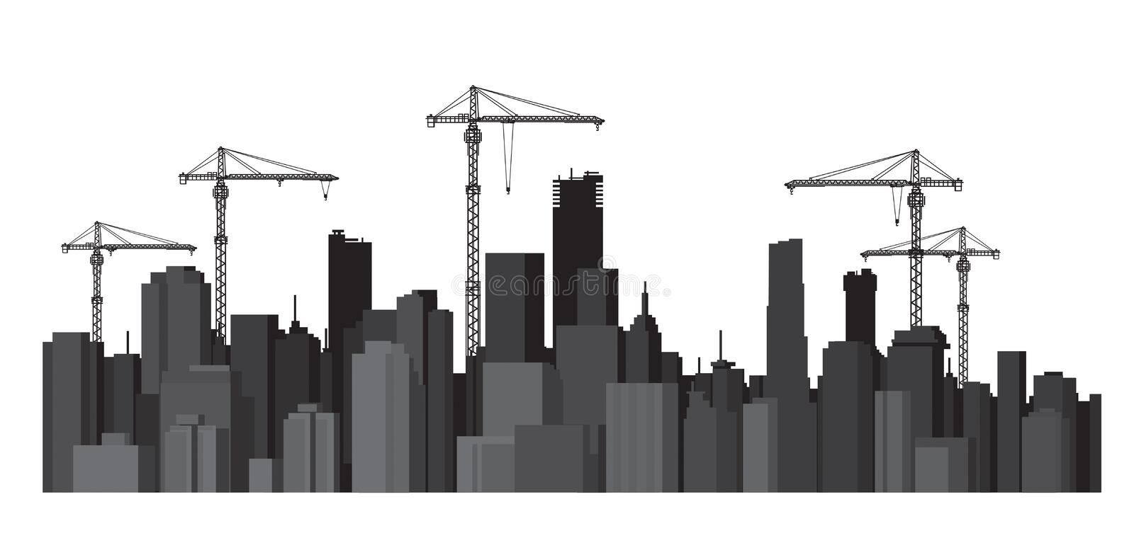 Vector buildings and cranes silhouettes. Buildings and cranes black silhouettes on white royalty free illustration