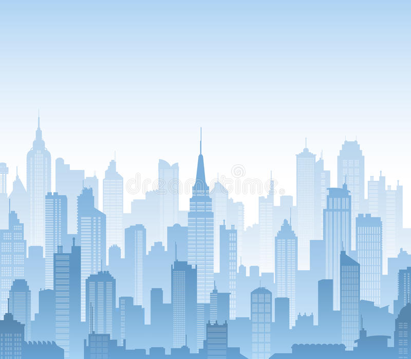 Vector buildings silhouettes background. Blue high detail vector background composed of lots of illustrations of generic buildings and skyscrapers vector illustration