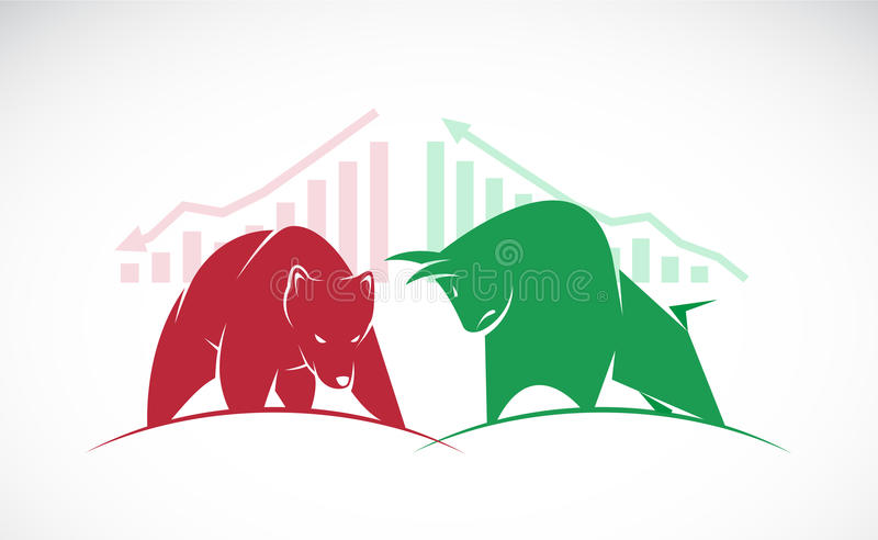Vector of bull and bear symbols of stock market trends. royalty free illustration