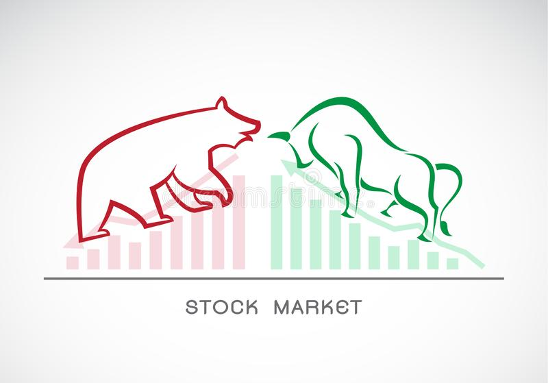 Vector of bull and bear symbols of stock market trends. The growing and falling market. Wild Animals stock illustration