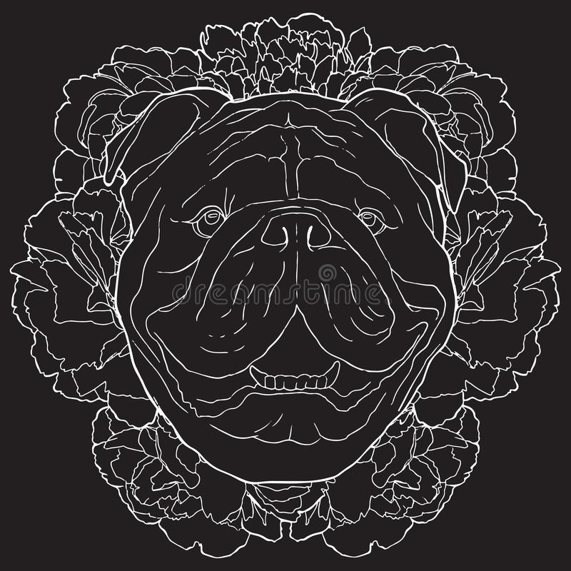 Vector bulldog and flowers white contour sketch on black background stock illustration