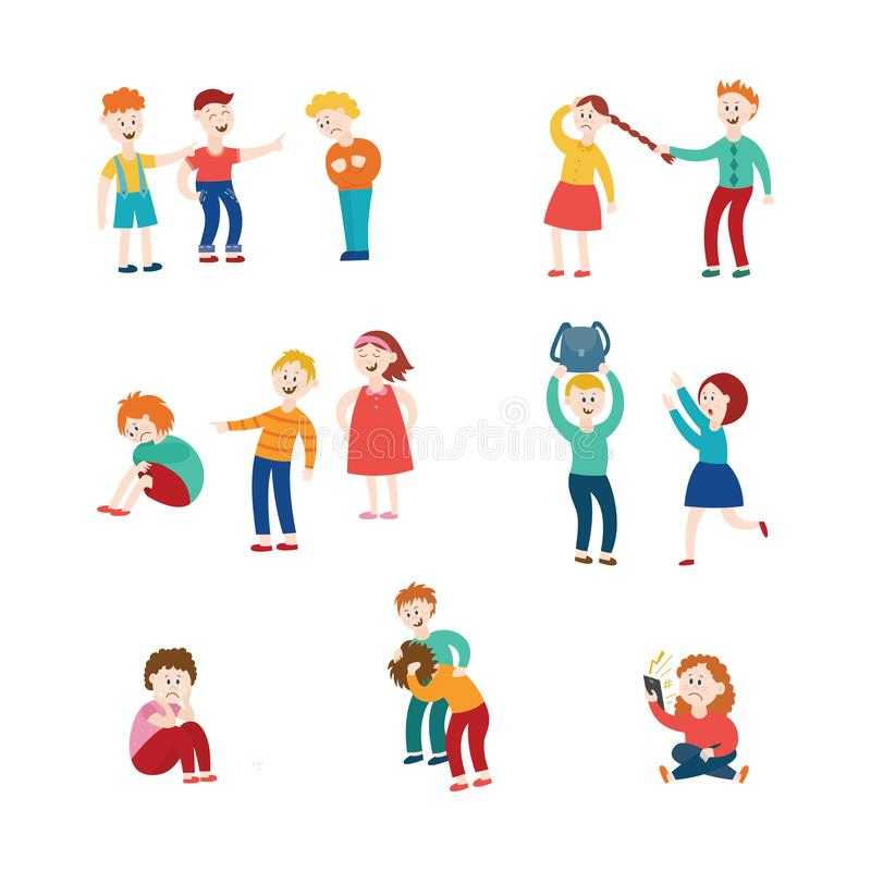Vector flat bullying kids harassment character set. Vector bullying and children harassment concept set. Lonely boys, girls victim sitting holding knees while stock illustration