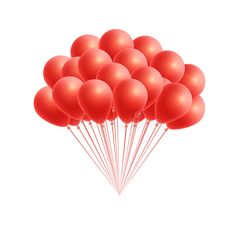Vector bunch birthday or party red balloons royalty free illustration