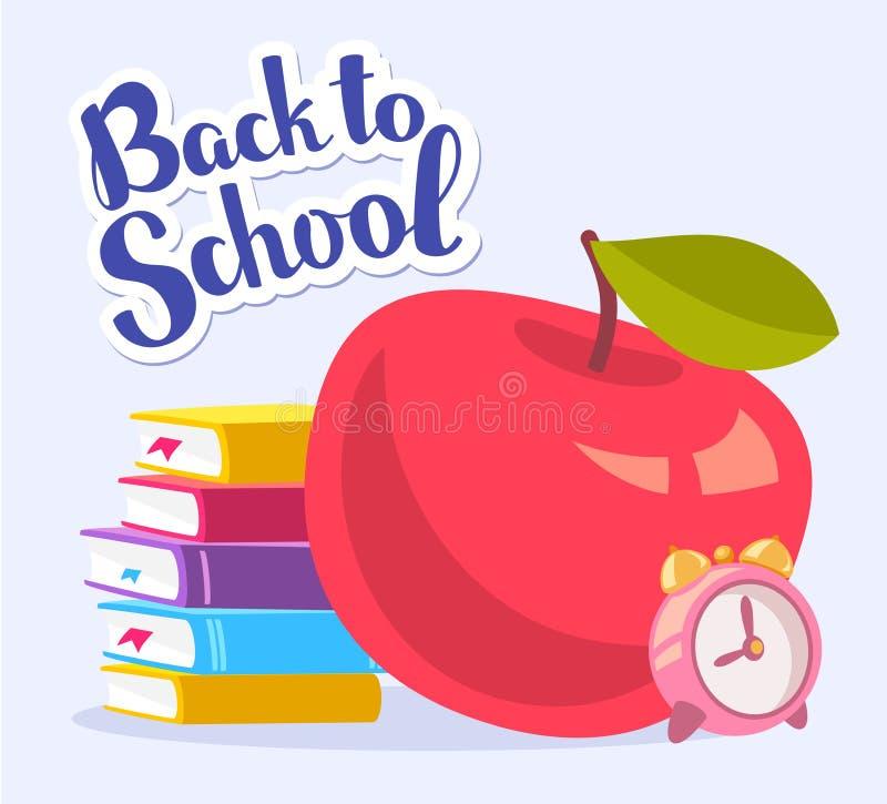 Vector bunte Illustration des großen roten Apfels, Stapel Bücher vektor abbildung