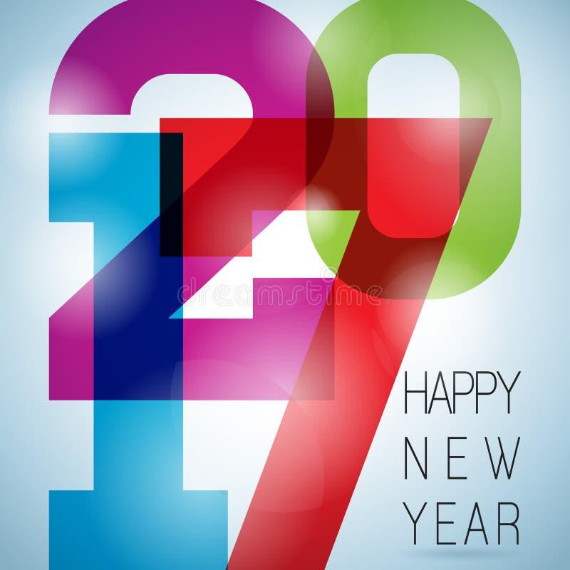 Vector bunten Feierhintergrund des guten Rutsch ins Neue Jahr 2017 mit Elementen der reinen Zahl lizenzfreie abbildung