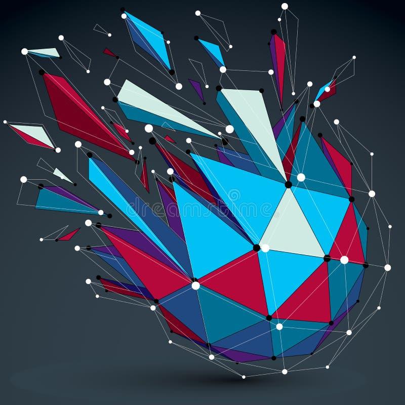 Vector bunten wireframe dimensionalgegenstand, demolierten niedrigen Pol stock abbildung