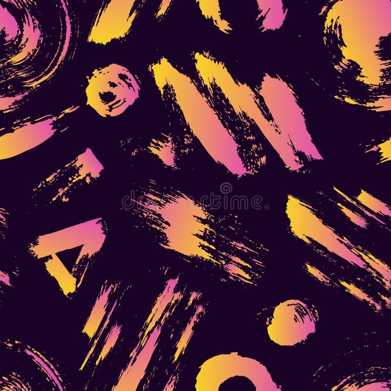 Vector buntes nahtloses Muster mit Bürstenanschlägen und -punkten Rosa gelbe Steigungsfarbe auf violettem Hintergrund Hand vektor abbildung