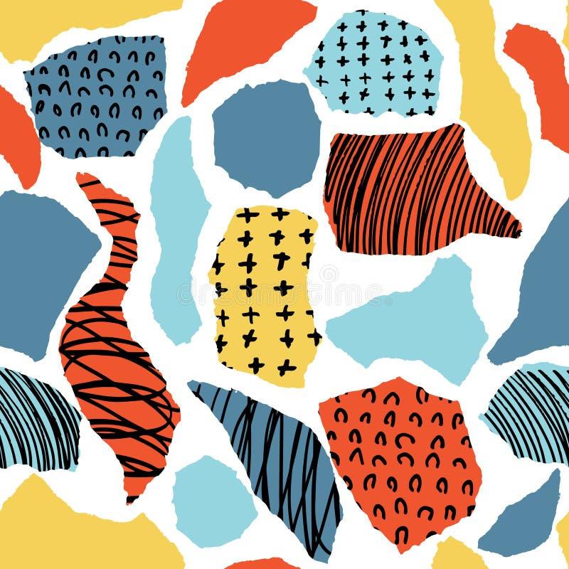 Vector buntes nahtloses Muster mit Bürstenpunkten, -anschlägen, -kreisen und -anschlägen Regenbogenfarbe auf weißem Hintergrund H lizenzfreie abbildung