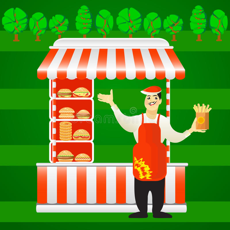 Vector burger street cart with seller. Fast food card. Vector illustration of burger street cart with seller on green background. Fast food card. Use this stock illustration