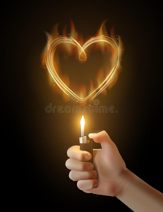 Download Vector Burning Heart And The Hand Holding Lighter Stock