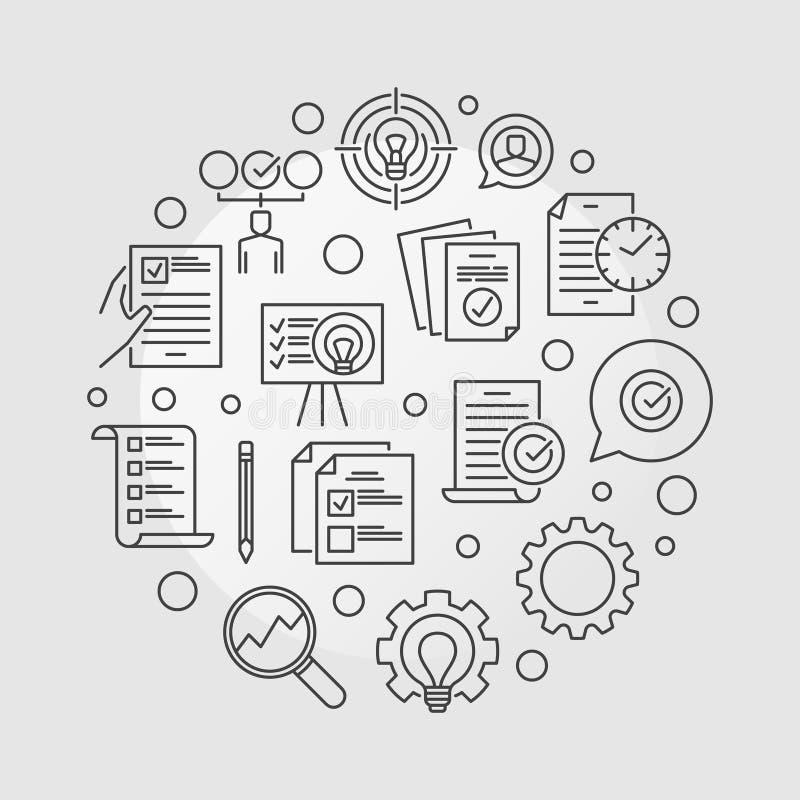 Vector Business Action Plan circular outline illustration royalty free illustration