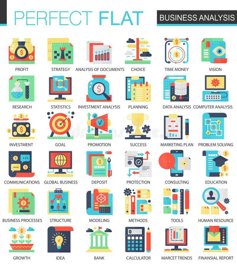 Vector Business analytics vector complex flat icon concept symbols for web infographic design. royalty free illustration