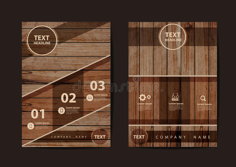 Vector Business brochure flyer design texture of wood background. Business brochure flyer design layout template in A4 size, With texture of wood background royalty free illustration