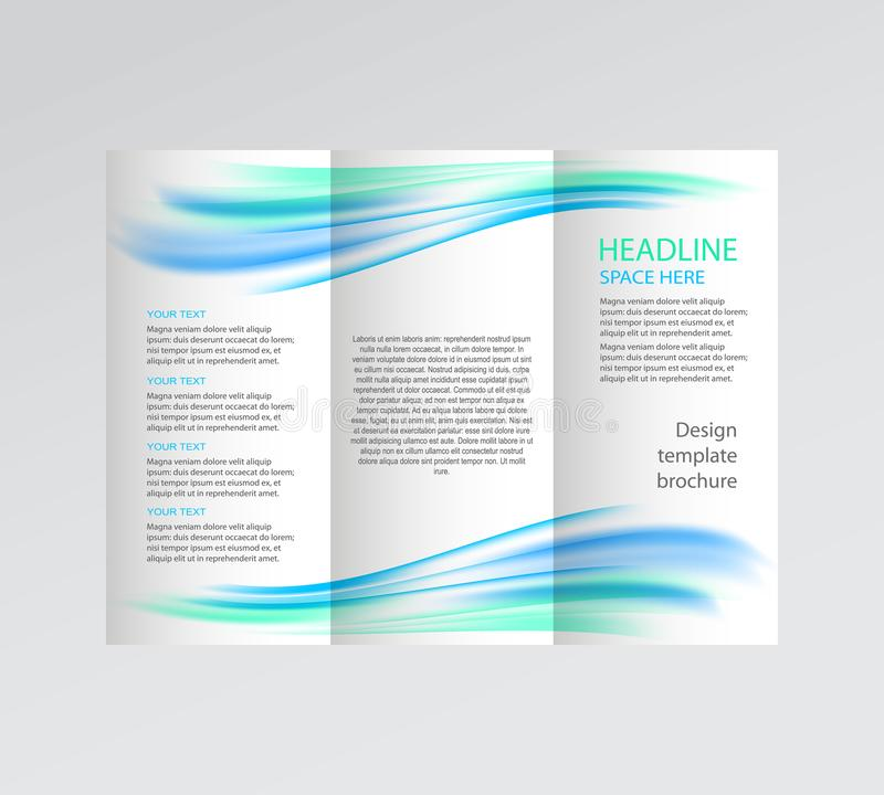 Vector business brochure, flyer template. blue wave on white background. vector illustration