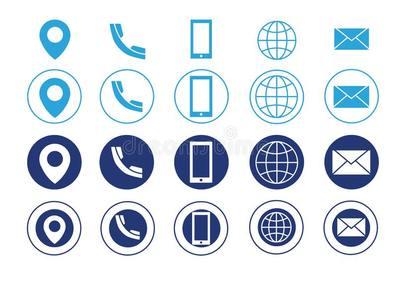 Vector business card contact information icons. Light blue and dark blue Vector business card contact information icons vector illustration