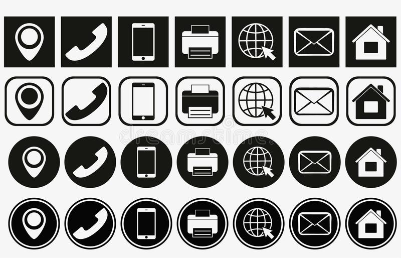 Vector business card contact information icons. business card contact icons set. contact information icons vector illustration