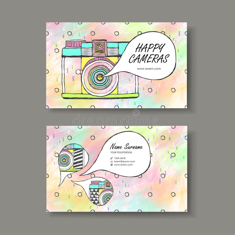 Vector business card design of hand drawn camera stock illustration